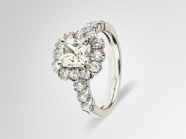 14kt White Gold Cushion Cut Halo Engagement Ring