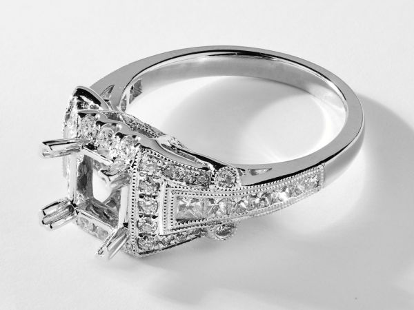 14kt White Gold Princess Cut Halo With Graduated Princess Cut Shank.