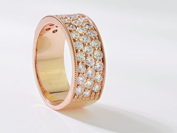 14kt Rose Gold Three Row Machine Made Milligrain Band