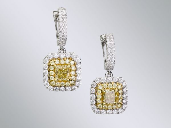 RECENTLY SOLD YELLOW AND WHITE DIAMOND EARRINGS