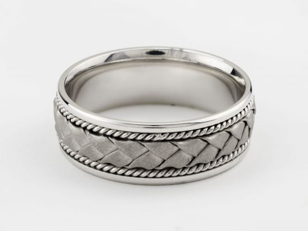 14kt White Gold Hand Woven Wedding Band