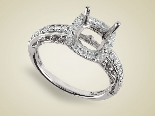 18kt White Gold Cushion Shape Halo With Hand Engraving