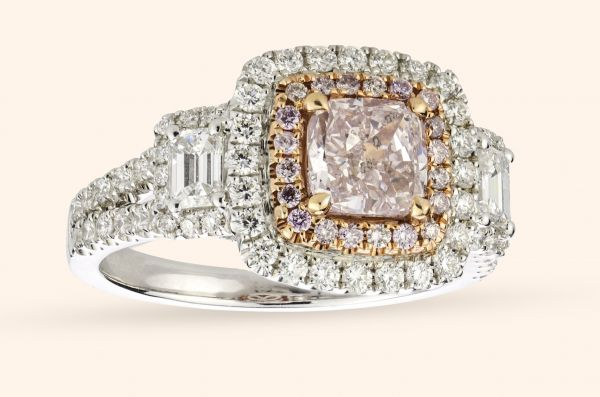 18kt White and Rose Gold Natural Pink Diamond Ring