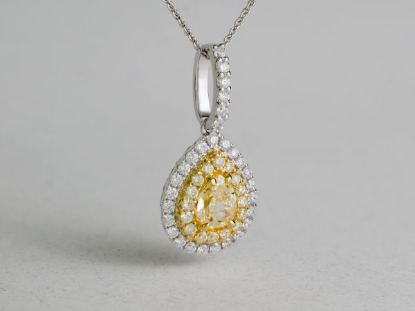 18kt White and Yellow Gold Natural Yellow Pear Shape Diamond Pendent