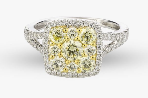18kt White and Yellow Gold Natural Yellow Diamond Ring