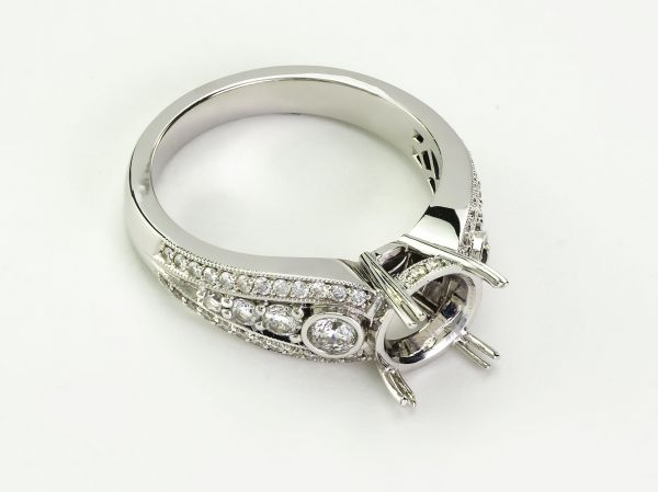 18kt White Gold Pave,Bezel And Prong Set Round Engagement Ring