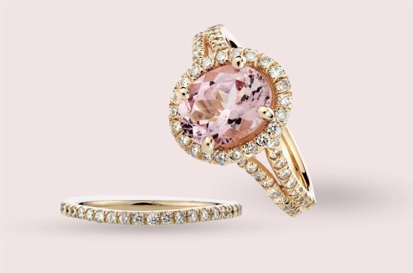 14kt Rose Gold Natural Oval Pink Tourmaline and White Diamond Ring With Contoured Matching Wedding Band