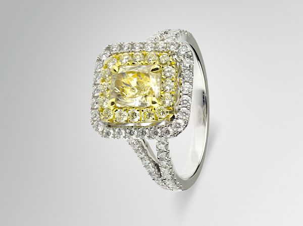 18kt Yellow And White Gold Fancy Yellow Diamond Ring