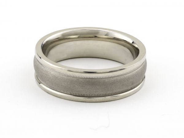 14kt White Gold Half Round Wedding Band With Milligrain