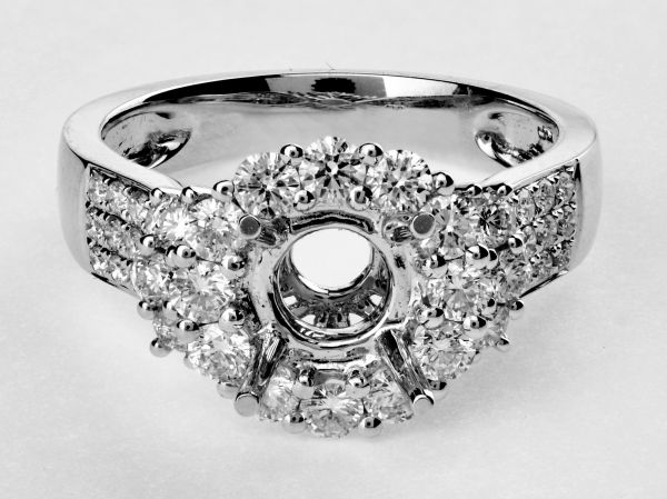 14kt White Gold Cluster Halo Engagement Ring.