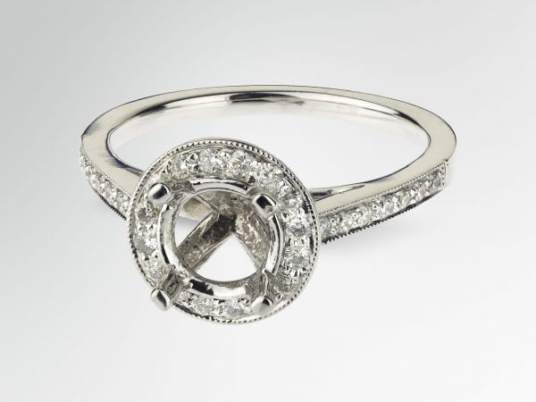 14kt White Gold Pave Halo With Milligrain