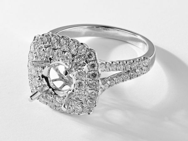 18kt White Gold Double Cushion Shape Halo Engagement Ring With A Split Shank