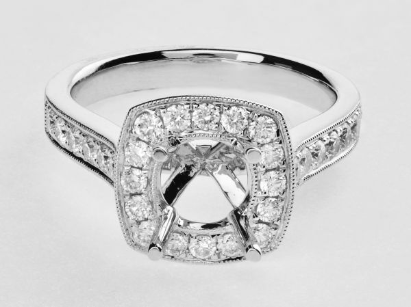 14kt White Gold Antique Square Halo With Pave Round Diamonds