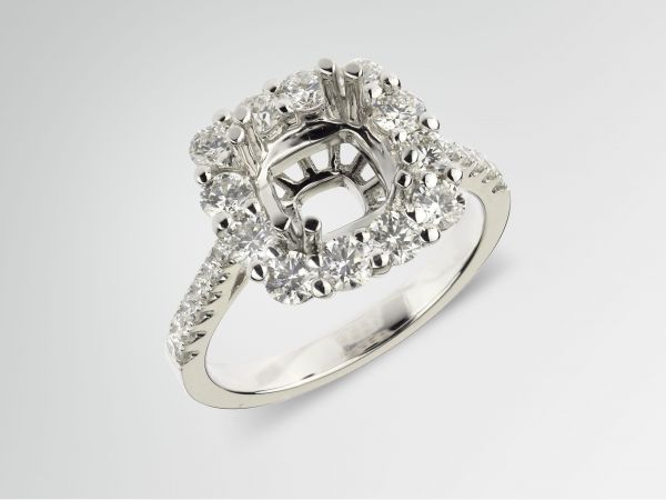 14kt White Gold Cushion Shape Halo With A Pinched Shank