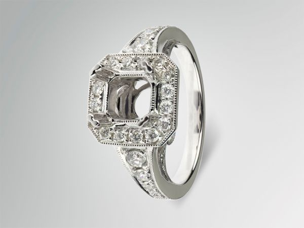 14kt White Gold Square Halo With A Graduated Diamond Shank.