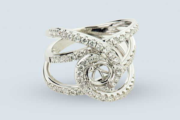 18kt White Gold Diamond and Round Halo Right Hand Ring
