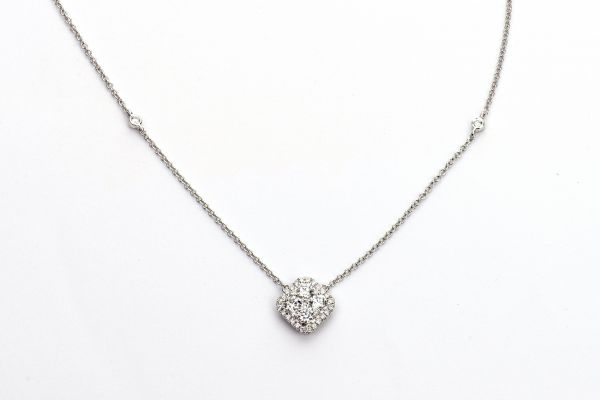 18kt White Gold Compass Diamond Cluster Necklace