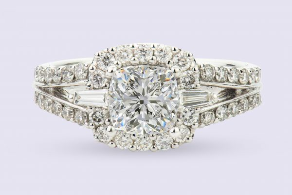 18kt White Gold Split Shank Cushion Halo Engagement Ring
