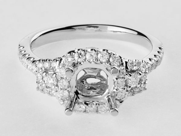 14kt White Gold Three Stone Halo Engagement Ring