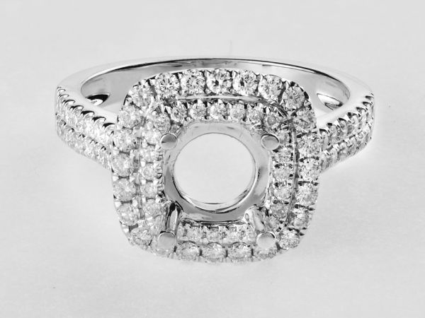 14kt White Gold Double Cushion Shape Halo Engagement Ring With A Two Row Shank
