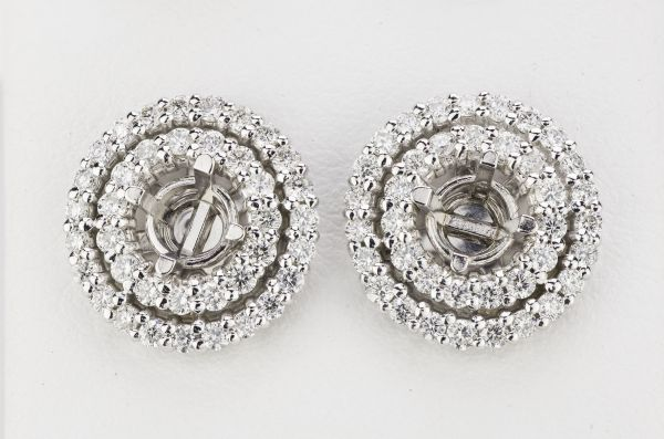 14kt White Gold Double Halo Earring Jackets