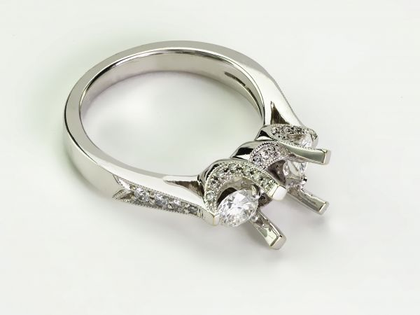 14kt White Gold Antique Pave Three Stone Engagement Ring