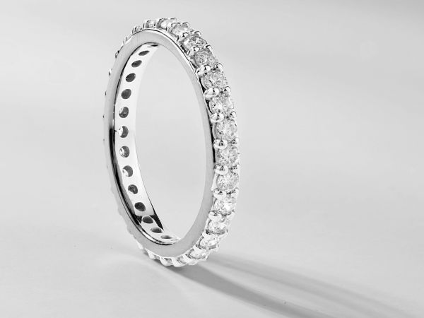 14kt White Gold Shared Prong Set Eternity Band