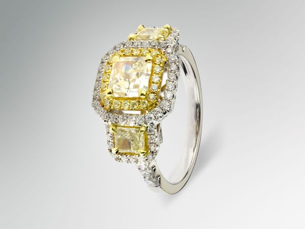 18kt Fancy Yellow Three Stone Diamond Ring