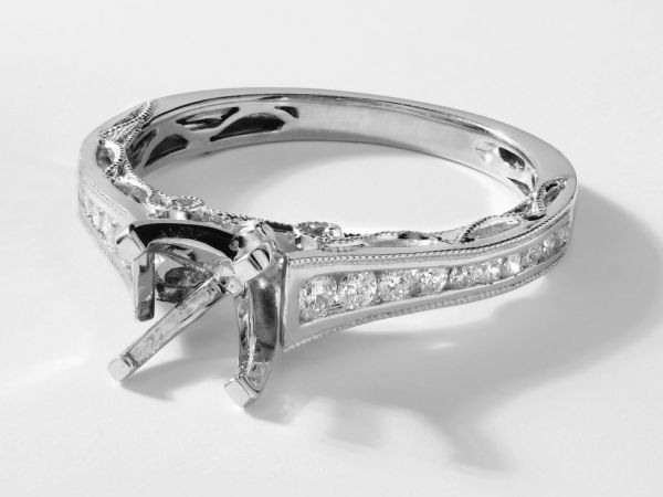 18kt White Gold Channel Set Cathedral Engagement Ring