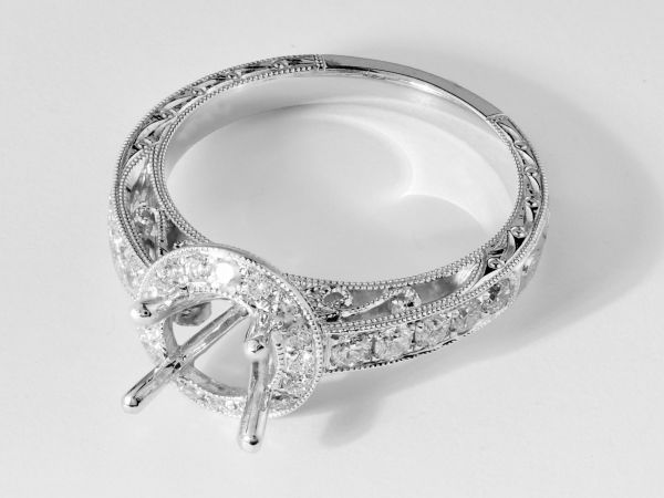 18kt White Gold Vintage Milligrain Halo Engagement Ring