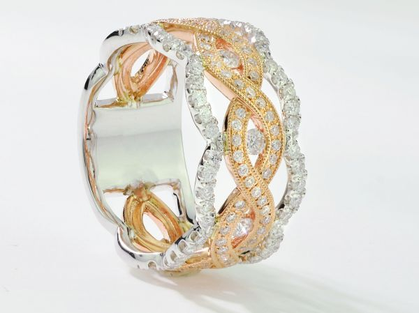14kt Rose and White Gold Fashion Band