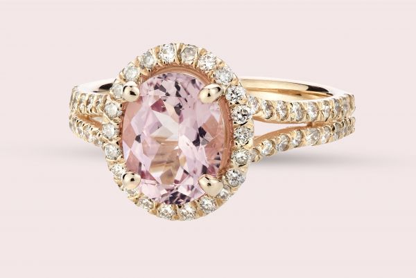 14kt Rose Gold Natural Oval Pink Tourmaline and White Diamond Ring