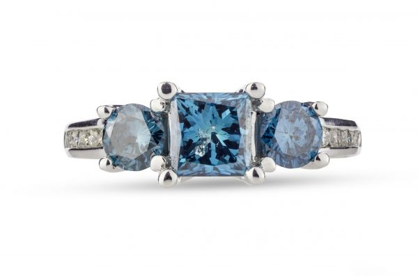 14kt Irradiated Blue Diamond 3-Stone Ring