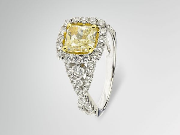 18kt Yellow And White Gold Fancy Yellow Diamond Engagement Ring