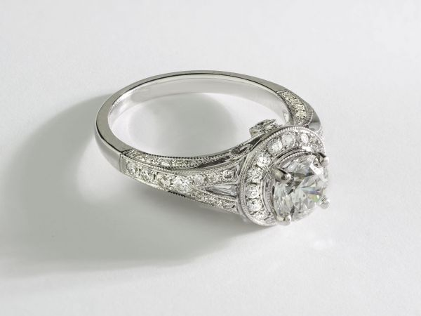 18kt White Gold Pave Round Diamond Halo Engagement Ring With Baguette Ascents