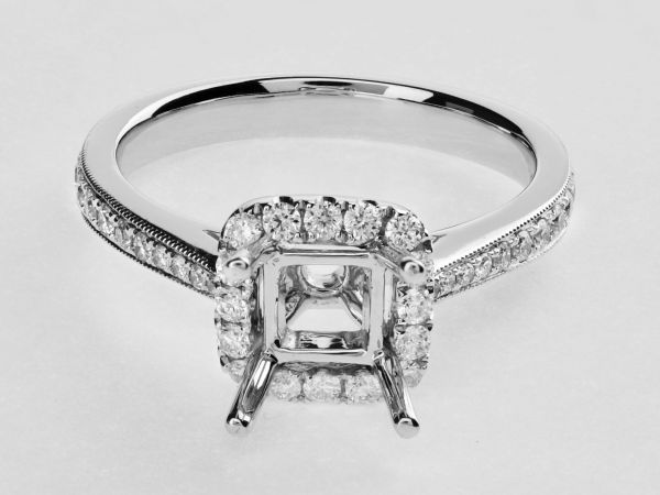 14kt White Gold Square Halo With A Split Shank Engagement Ring