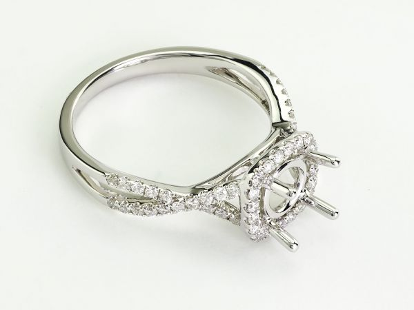 14kt White Gold Square Halo With An Infinty Shank Engagemnet Ring