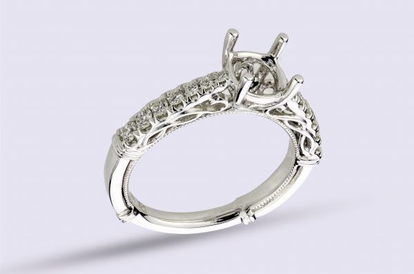 Shared Prong Hand Engraved Milligrain Engagement Ring