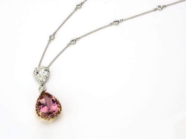 14kt White and Rose Gold Fancy Pink Tourmaline and Diamond Pear Shape Necklace