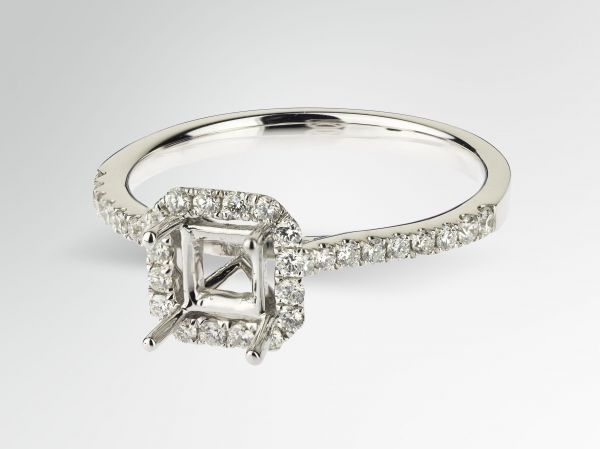 14kt White Gold Square Halo Engagement Ring.