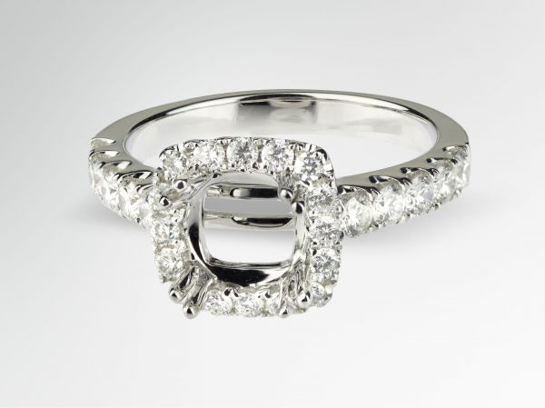 14kt White Gold Cushion Shaped Halo Engagement Ring