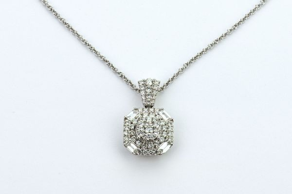 18kt White Gold Round Diamond and Baguette Fancy Cluster Pendant