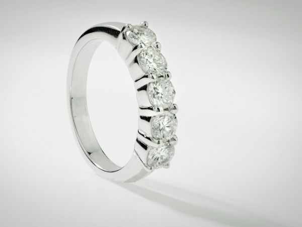 14kt White Gold Five Diamond Band