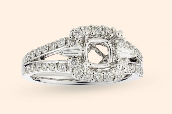 18kt White Gold Cushion Halo With a Split Shank and Baguette Accents