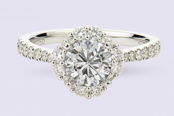 18kt White Gold Fancy Round Halo Engagement Ring