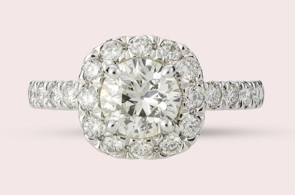 1.25 CARAT T.W. CUSHION SHAPED HALO WITH ROUND CENTER DIAMOND