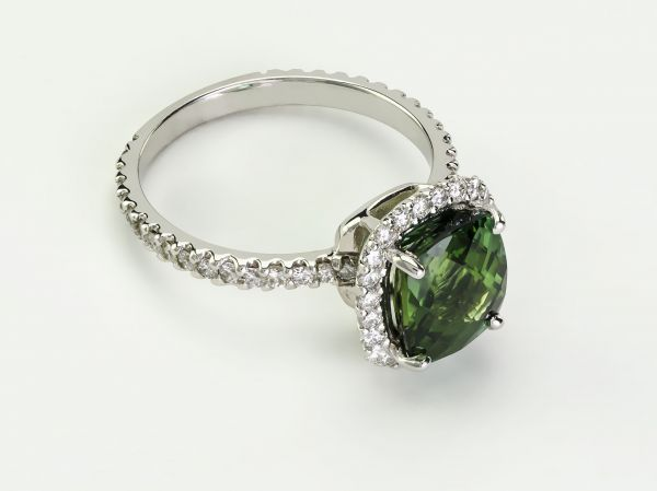 Oval Green Tourmaline and Round White Diamond Ring