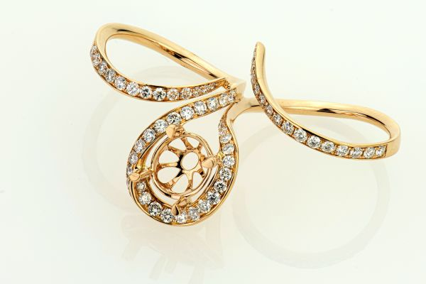 18kt Rose Gold Fancy Two-Finger Diamond Ring
