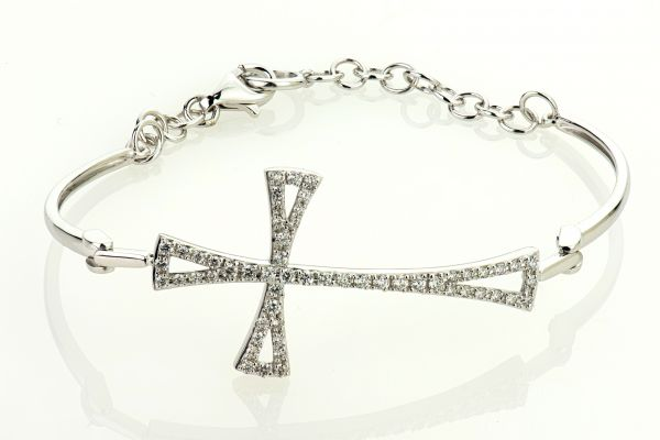 18kt White Gold Diamond Cross Bracelet