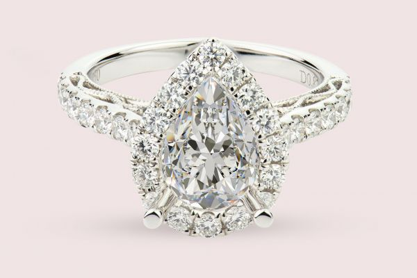 18kt White Gold Pear Halo Engagement Ring With Hand Engraving